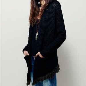 Free people open cardigan with hood and fringe